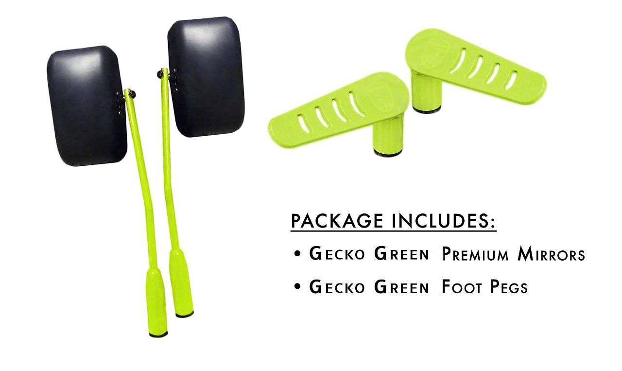 Steinjager Premium Mirror & Foot Peg Kit - Gecko Green (07-18 Wrangler JK)