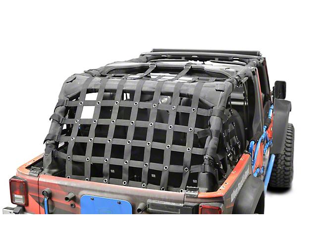 Steinjager Rear Teddy Top Premium Cargo Net; Black (07-18 Jeep Wrangler JK 4 Door)