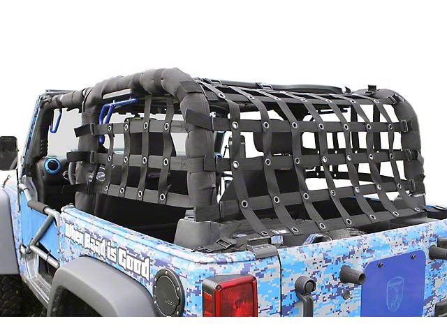Steinjager Rear Teddy Top Premium Cargo Net; Black (07-18 Jeep Wrangler JK 2 Door)
