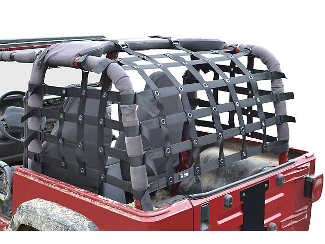 Steinjager Rear Teddy Top Premium Cargo Net - Black (97-06 Jeep Wrangler TJ, Excluding Unlimited)