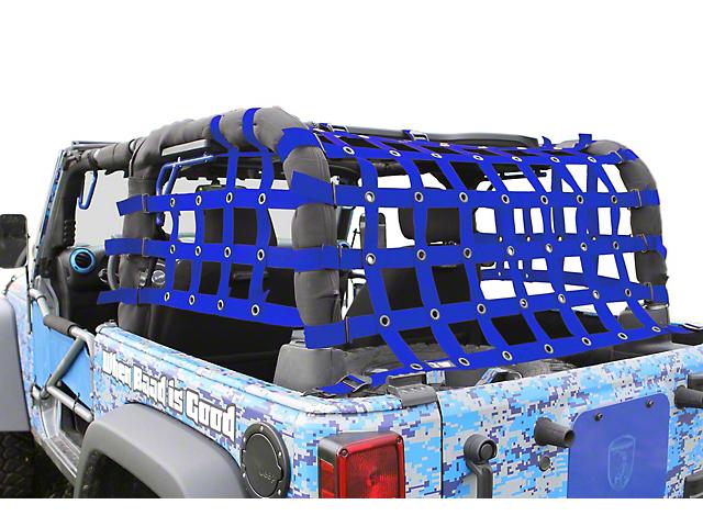 Steinjager Rear Teddy Top Premium Cargo Net - Blue (07-18 Jeep Wrangler JK 2 Door)