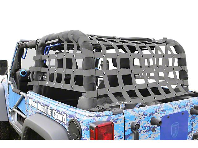 Steinjager Rear Teddy Top Premium Cargo Net; Gray (07-18 Jeep Wrangler JK 2 Door)