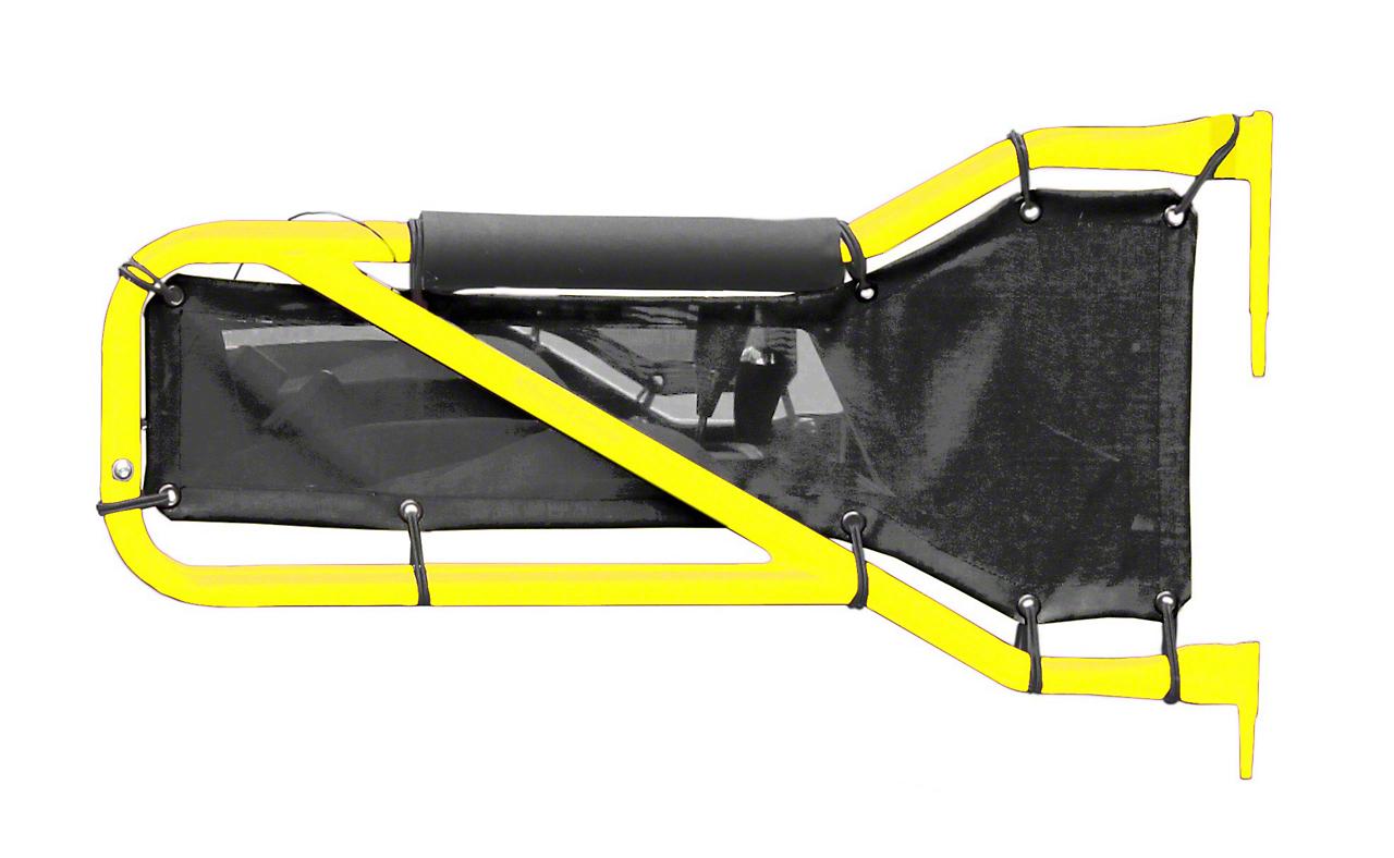Steinjager Rear Tube Doors - Lemon Peel & Black Mesh (07-18 Jeep Wrangler JK 4 Door)