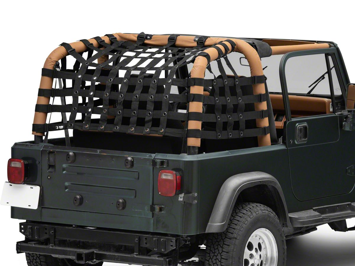 Steinjager Teddy Top Cargo Net Kit; Black (9-9 Jeep Wrangler YJ)
