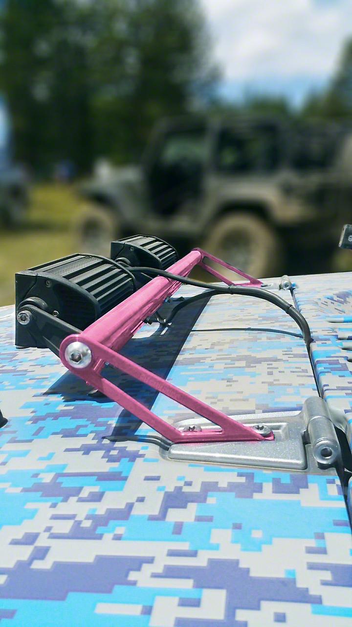 Steinjager Two 8 in. LED Light Bars w/ Hood Hinge Mounting Brackets - Pinky (07-18 Jeep Wrangler JK)