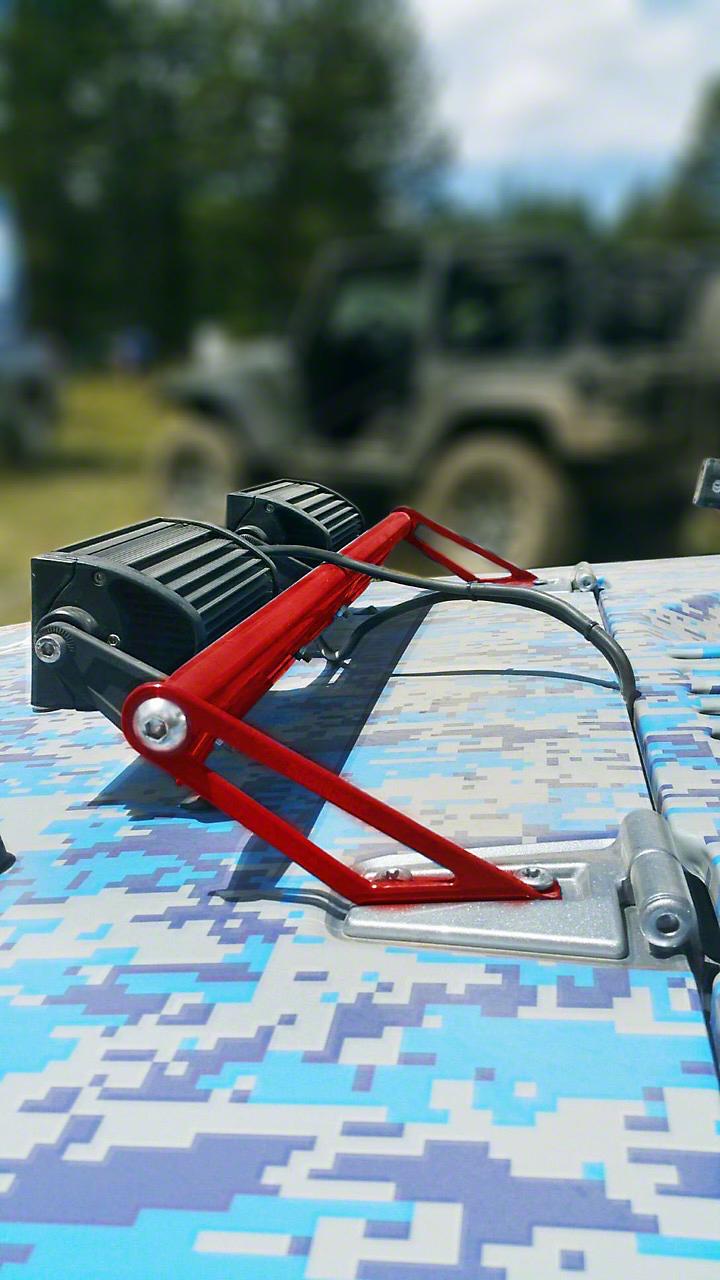 Steinjager Two 8 in. LED Light Bars w/ Hood Hinge Mounting Brackets - Red Baron (07-18 Jeep Wrangler JK)