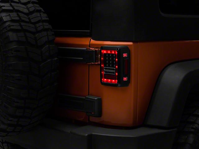 LED Tail Lights; Clear (07-18 Jeep Wrangler JK)
