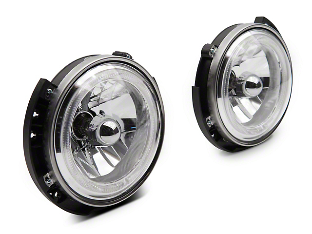 Raxiom LED Halo Headlights; Chrome Housing; Clear Lens (07-18 Jeep Wrangler JK)