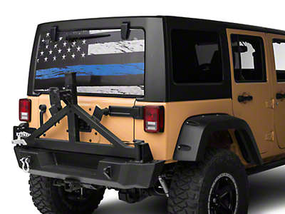 Perforated Real Flag Rear Window Decal w/ Blue Line (87-18 Jeep Wrangler YJ, TJ, JK & JL)