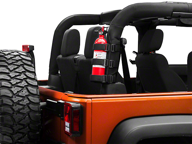 Rugged Ridge Sport Bar Fire Extinguisher Holder; Black (87-21 Jeep Wrangler YJ, TJ, JK & JL)
