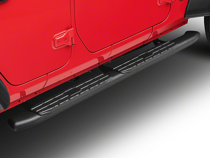 RedRock 4x4 Pinnacle Oval Bent End Side Step Bars - Textured Black (18-19 Jeep Wrangler JL 4 Door)