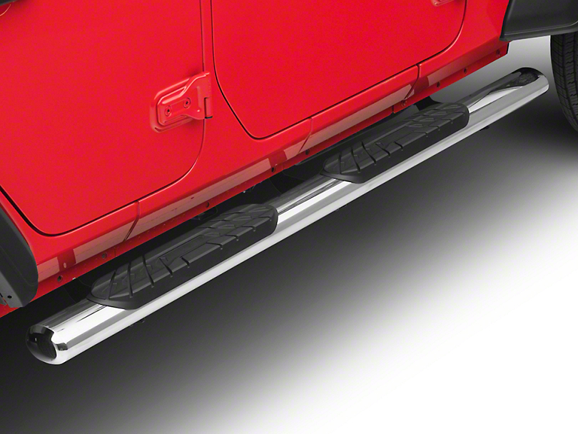 RedRock 4x4 4 in. Oval Straight Side Step Bars - Stainless Steel (18-19 Jeep Wrangler JL 4 Door)