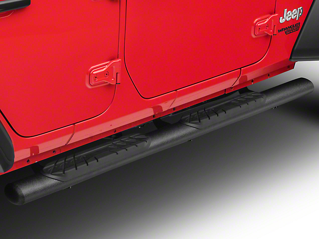 RedRock 4x4 4 in. Oval Straight Side Step Bars - Textured Black (18-20 Jeep Wrangler JL 4 Door)