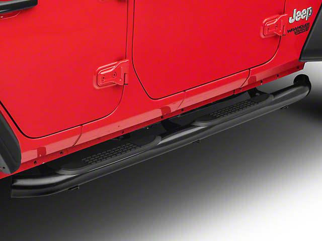 RedRock 4x4 3 in. Round Curved Side Step Bars - Gloss Black (18-20 Jeep Wrangler JL 4 Door)