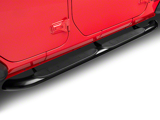 RedRock 4x4 4 in. Oval Curved Side Step Bars - Gloss Black (18-20 Jeep Wrangler JL 4 Door)