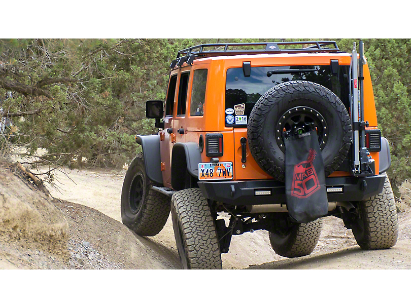 Expedition One Trail Series Rear Bumper w/ Tire Carrier & Square Light Ports - Textured Black (07-18 Jeep Wrangler JK)