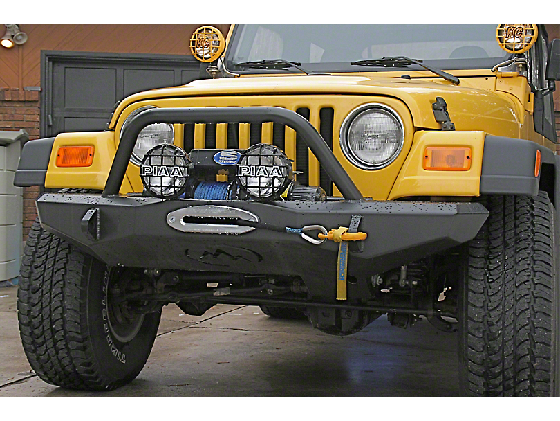 Expedition One Front Bumper w/ Center Hoop - Textured Black (97-06 Jeep Wrangler TJ)