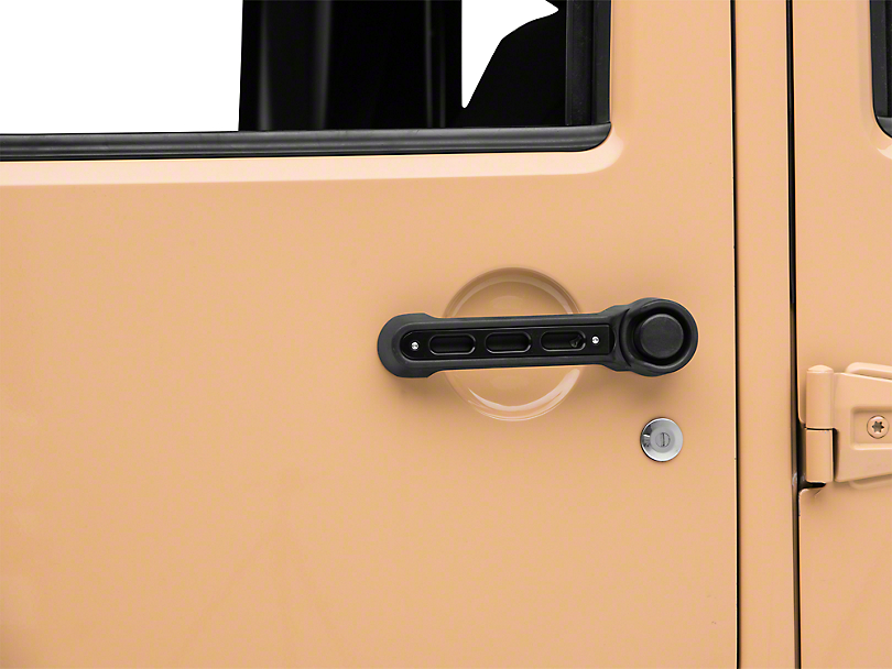 Drake Off Road Slot Style Door Handle Inserts - Black (07-18 Jeep Wrangler JK 4 Door)