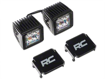 Rough Country 2 in. Black Series LED Cube Lights w/ Windshield Mounting Brackets (18-19 Jeep Wrangler JL)