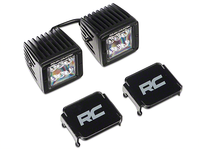 Rough Country 2-Inch Black Series LED Cube Lights with Windshield Mounting Brackets (18-21 Jeep Wrangler JL)