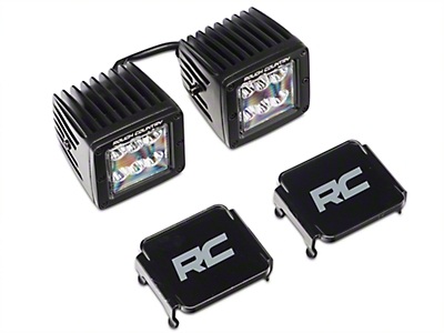 Rough Country 2 in. Black Series LED Cube Lights w/ Windshield Mounting Brackets (2018 Jeep Wrangler JL)