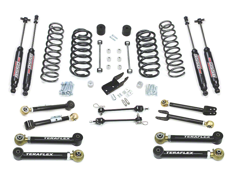 Teraflex 3-Inch Lift Kit with 8 FlexArms and 9550 Shocks; Right Hand Drive (97-06 Jeep Wrangler TJ)