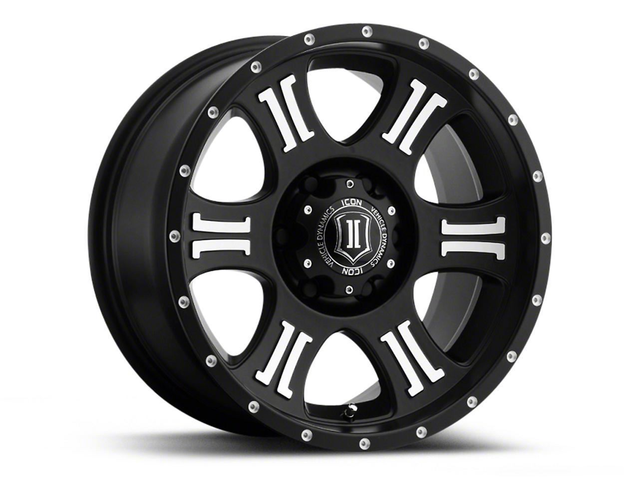 ICON Vehicle Dynamics Shield Satin Black Machined Wheels (07-18 Wrangler JK; 2018 Wrangler JL)