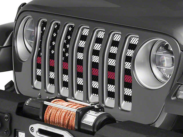 Under the Sun Grille Insert; Black and White Thin Red Line (18-20 Jeep Wrangler JL)
