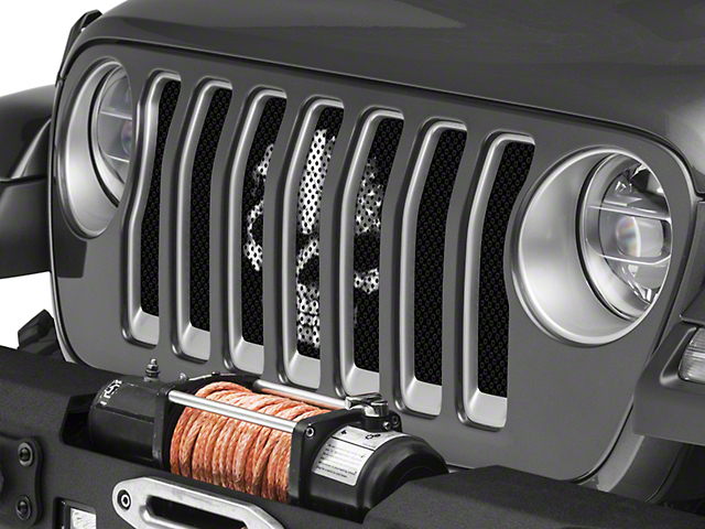 Under the Sun Grille Insert; BlackOut Skull (18-21 Jeep Wrangler JL)