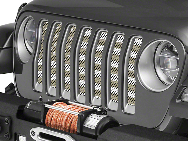 Under the Sun Grille Insert; Desert Tan Old Glory White Stars and Stripes (20-21 Jeep Gladiator JT)