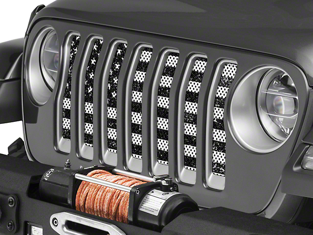 Under the Sun Grille Insert - Distressed Black and White (18-20 Jeep Wrangler JL)