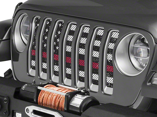 Under the Sun Grille Insert; Distressed Black and White Thin Red Line (18-20 Jeep Wrangler JL)