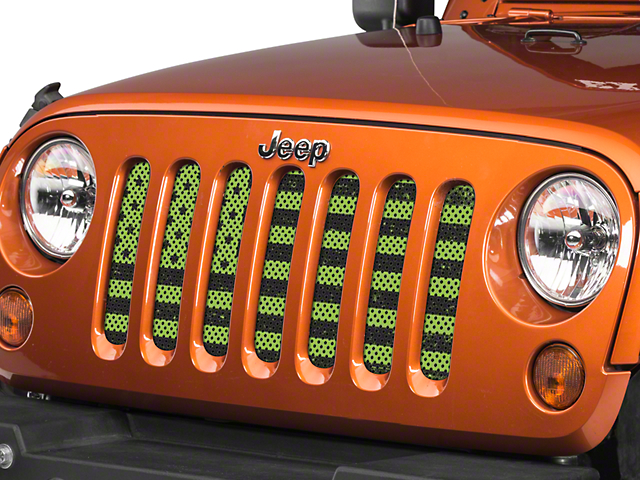 Under The Sun Grille Insert   Distressed Lime Green (07 18 Jeep Wrangler JK)