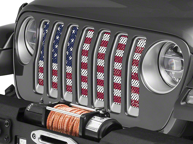 Under the Sun Grille Insert - Distressed Old Glory (18-20 Jeep Wrangler JL)