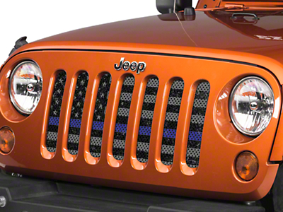 Under the Sun Grille Insert - Distressed Thin Blue Line (07-18 Jeep Wrangler JK)