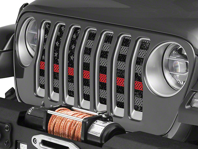 Under the Sun Grille Insert; Distressed Thin Red Line (20-21 Jeep Gladiator JT)