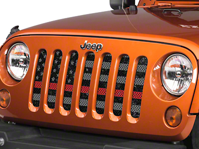 Under the Sun Grille Insert - Distressed Thin Red Line (07-18 Jeep Wrangler JK)