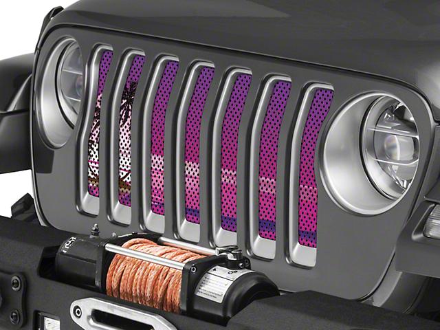 Under the Sun Grille Insert; Endless Summer Purple Palm Tree (18-20 Jeep Wrangler JL)