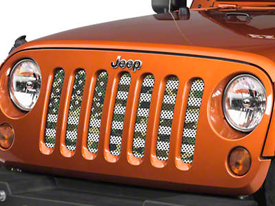 Under the Sun Grille Insert - Woodland Camo Stars and Stripes (07-18 Jeep Wrangler JK)