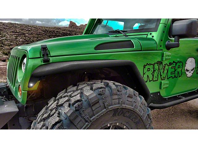 Hauk Off-Road Factory Full Width Tube Fenders; Bare Steel (07-18 Jeep Wrangler JK)