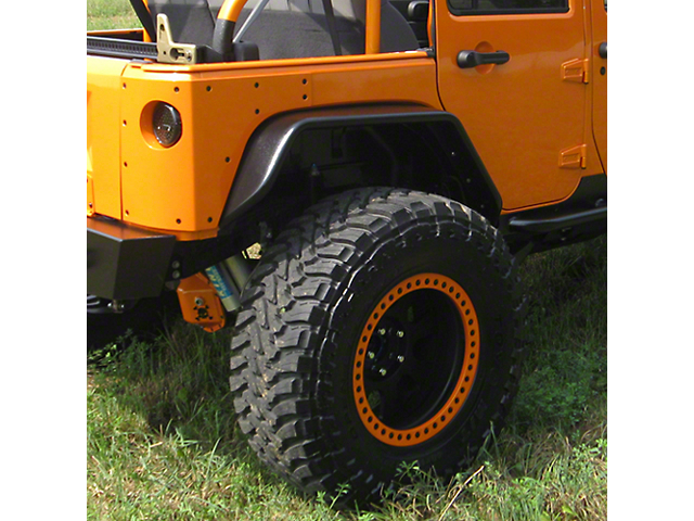 Hauk Off-Road Factory Full Width Tube Fenders; Epoxy Black Steel (07-18 Jeep Wrangler JK)