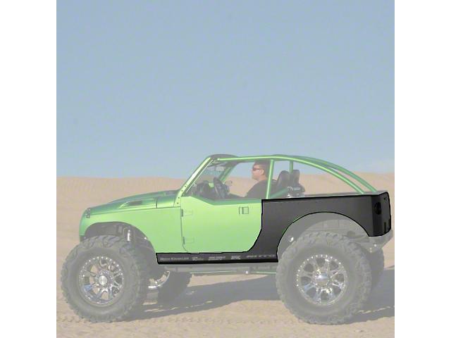Hauk Off-Road Rocker and Rear Corner Armor - Bare Steel (07-18 Jeep Wrangler JK 2 Door)