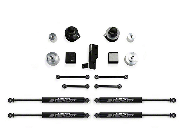 Fabtech 3-Inch Spacer Lift Kit with Stealth Shocks (18-20 3.6L Jeep Wrangler JL 4 Door)