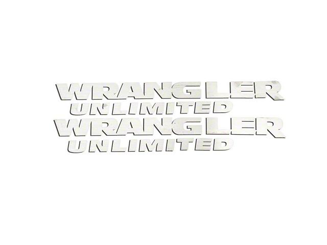Wrangler Unlimited Badges; Brushed (07-18 Wrangler JK)