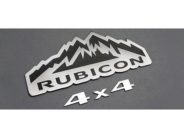 Rubicon 4x4 Badges; Brushed (07-18 Jeep Wrangler JK)