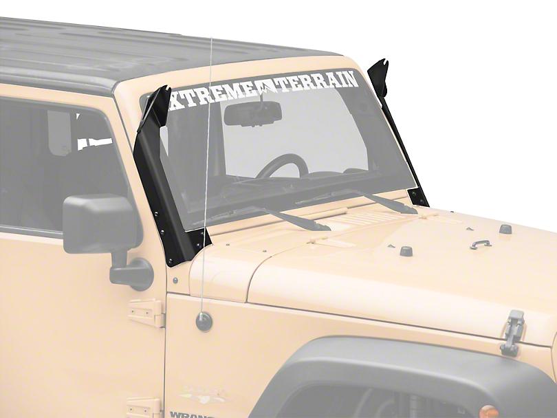 Deegan 38 50 in. LED Light Bar Windshield Mounting Brackets (07-18 Jeep Wrangler JK)