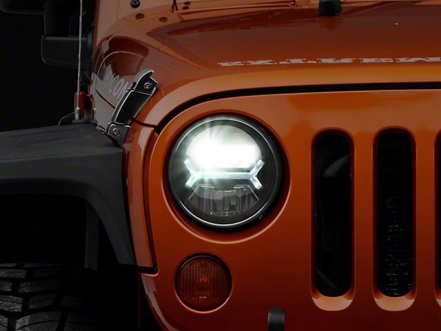 Raxiom LED Halo Headlights; Black (07-18 Jeep Wrangler JK)