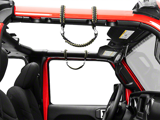 Alterum Front Rollbar Paracord Grab Handles with D-rings - Black and OD Green (07-19 Jeep Wrangler JK & JL)