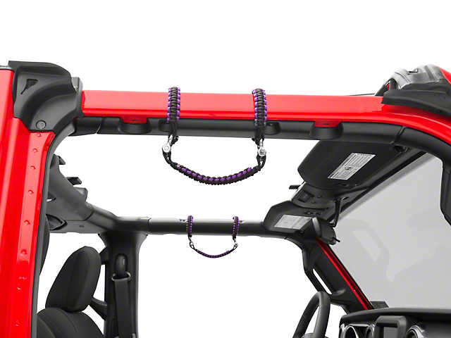 Alterum Front Rollbar Paracord Grab Handles with D-Rings - Black and Purple (07-20 Jeep Wrangler JK & JL)