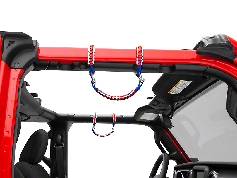 Alterum Front Rollbar Paracord Grab Handles with D-rings - Red, White and Blue (07-19 Jeep Wrangler JK & JL)